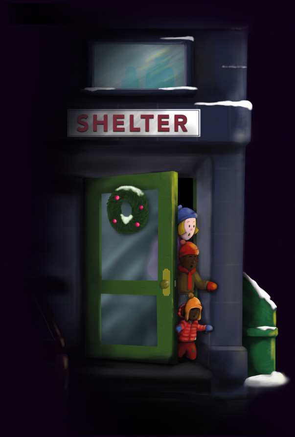 Children peering out of shelter a door
